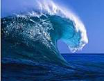 Wave.  Photograph of a wave with rather impressive energy.  This icon represents the wave energy captured by Dam-Atoll.